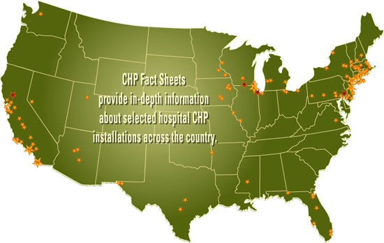 Map of Hospital Locations with existing DG/CHP Systems.